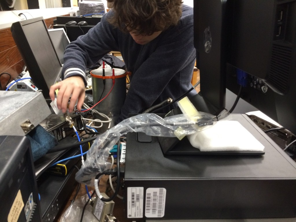 Here we can see science team member, Sammy Colburn, preparing the signal chain to begin testing.